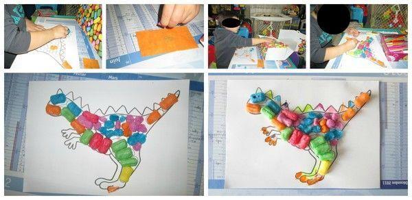 Le dinosaure en playma s dinosaure d coupage - Modele dessin dinosaure ...