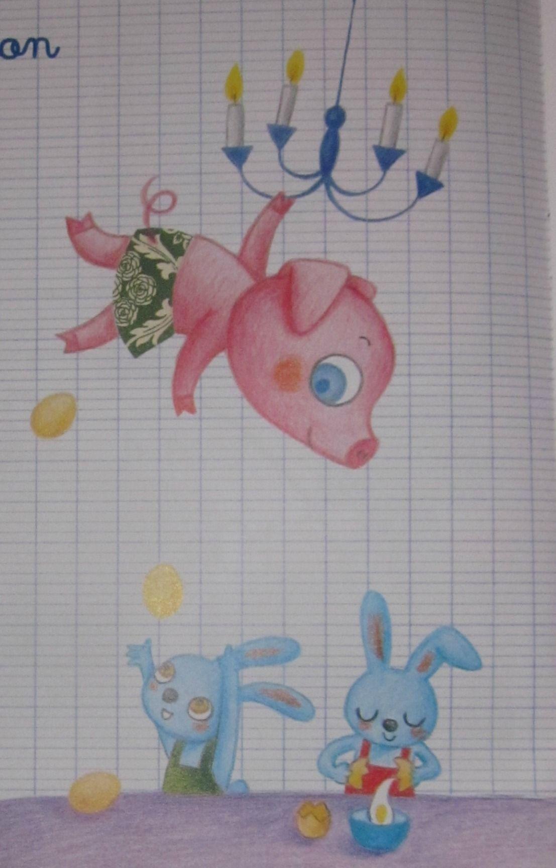 Nos comptines page 14 - Un petit cochon pendu au plafond ...